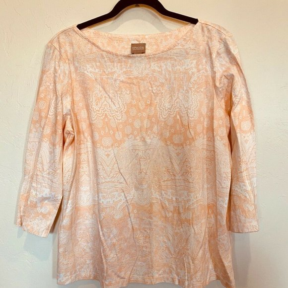 Chico's Blush Pink Oriental 3/4 Sleeve Top Large